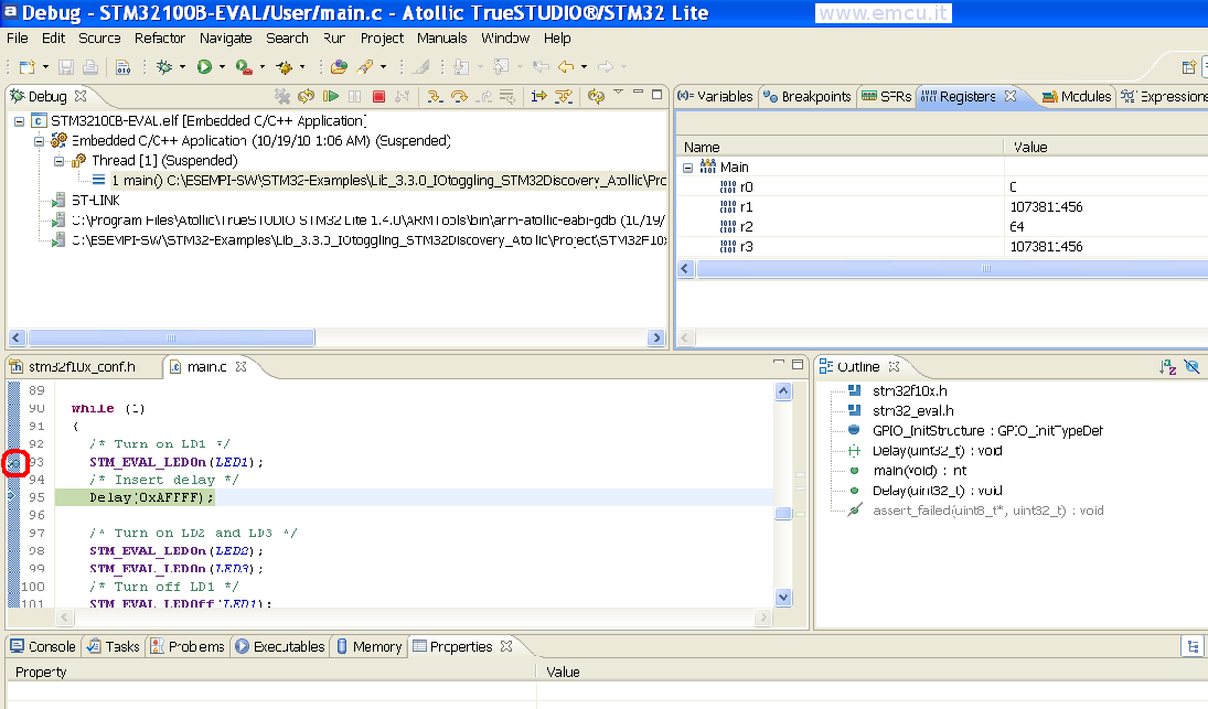 How to use STM32 examples in ATOLLIC TrueSTUDIO Lite